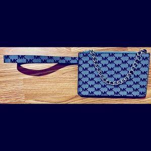 Michael Kors Blue Pull Chain Belt Bag Size Medium